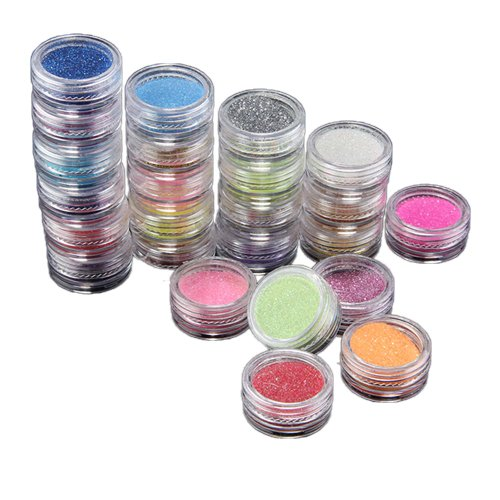 fitTek 24 Colori Paillette Scintillanti Metallici Unghie Decorativo Nail Art