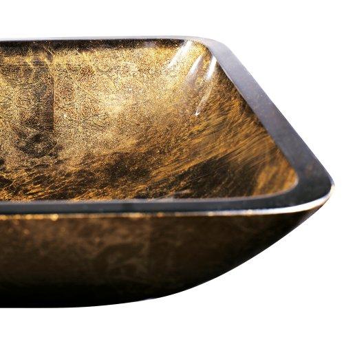 Vigo Rectangular Copper Glass Vessel Bathroom Sink Hardware Plumbing Plumbing Fixtures Sinks Sinks