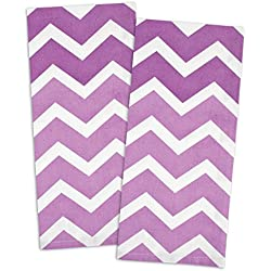 "DII 100% Cotton, Oversized, Low Lint, Everyday Kitchen Basic, Printed Chevron Dishtowel, Tea Towel, 18 x 28"", Set of 2- Eggplant"