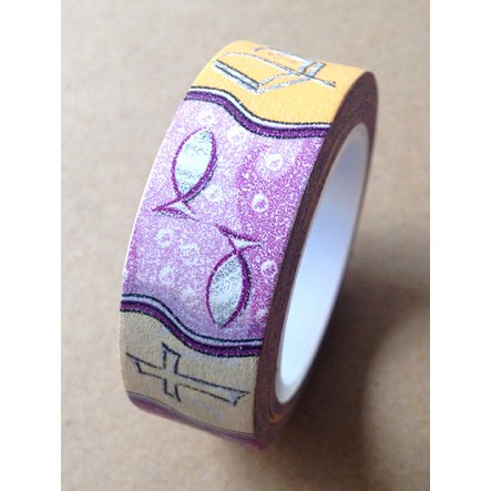 Washi Tape 15mmX10m-Purple Christian Symbols 4 rolls per package - 1