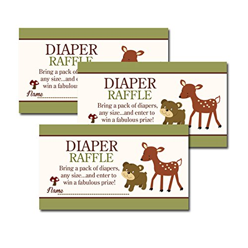 Woodland Deer and Brown Bear Nature Theme Baby Shower Diaper Raffle Tickets 20-pack - 1