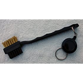 Golf Club Cleaning Brush With A Retractable Reel