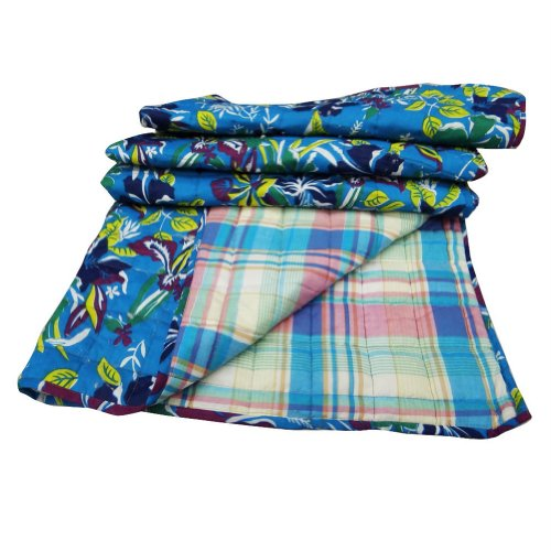 "Blue Handcrafted Crib Size Baby Quilt Reversible Bedspread Floral Pattern Indian Gudri Throw India 46X38"" Inches"