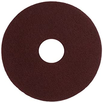 "Glit 11514 TN Polyester Blend Maroon Wood Surfacing Pad, Synthetic Blend Resin, Aluminum Oxide Grit, 14"" Diameter, 175 to 350 rpm (Case of 10)"