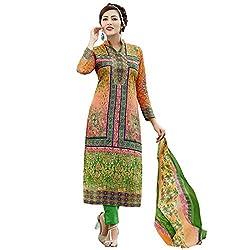 Shelina Women Orange & Green Cotton Printed Salwar Suit