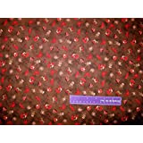 """43"""" Wide Sock Monkey Toss Brown Cotton Fabric BY THE HALF YARD"""