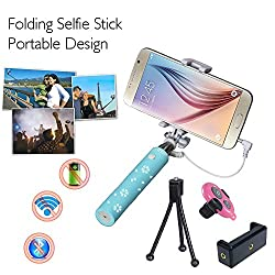COOLNUT® Combo Gift Extendable Selfie Stick Wired Mini Selfie Handheld Stick With Adjustable Phone Holder And Bluetooth Wireless Remote Shutter For All Smartphones & Android Phones (Light Blue)