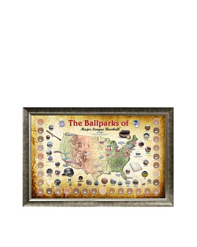 "Steiner Sports Memorabilia Major League Baseball Parks ""Map"" Framed Collage With Game Used..."
