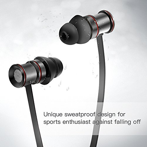 Cuffie Bluetooth 4,1 Coolreall® Auricolari Wireless Sporive Per iPhone, Samsung, iPod, iPad, Lettori MP3/MP4, Huawei, HTC, BlackBerry, Android - (Nero)