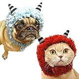 iDog&iCat オリジナル 犬 服 変身かぶりものスヌード モコモコおにさん レッド M