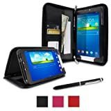 RooCASE Samsung GALAXY Tab 3 8.0 SM-T3100 / SM-T3110 Executive Portfolio Case Cover - Black (with Bonus Pen Stylus)