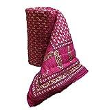 Rajkruti pure cotton jaipuri razai / rajai double bed cotton rajasthani sanganeri floral print quilt blanket (90 Inches x 104 Inches,QT020)