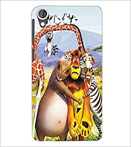 PrintDhaba Animated Animals D-5347 Back Case Cover for HTC DESIRE 820 (Multi-Coloured)