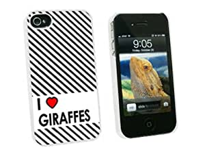 Graphics and More I Love Heart Giraffes - Snap On Hard Protective Case for Apple iPhone 4 4S - White - Carrying Case - Non-Retail Packaging - White