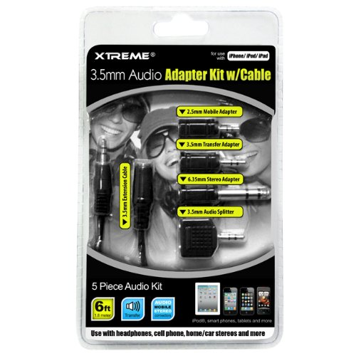 Xtreme 3.5Mm Audio Adapter Kit With Cable - Retail Packaging - Black
