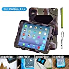 Ipad Mini 3 & 2 & 1 Case; Aceguarder Hot Newest Ipad Mini Non Toxic Eva Case Super 3d Protect Military-duty Case with Stand Holder Shell Cover Case for Apple Ipad 4 Ipad 3 Ipad 2 - Rainproof Sandproof Dust-proof Shockproof (Gifts Outdoor Carabiner + Whistle + Handwritten Touch Pen) (Multicolor)