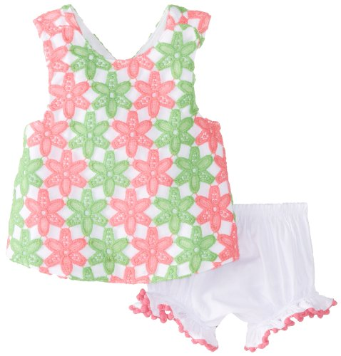 Mud Pie Baby-Girls Infant Crochet Pinnafore And Bloomer Set, Pink/Green/White, 12-18 Months