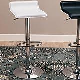 Coaster Home Furnishings 120391 Contemporary Adjustable Bar Stool, Chrome/White, Set Of 2