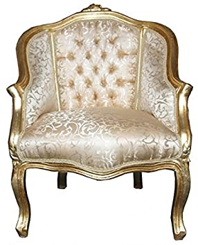 Casa Padrino Ladys Salon Chair Gold Pattern / Gold - Furniture Antique style
