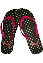 Puma Women's Flip Flops Black/Pink/Yellow