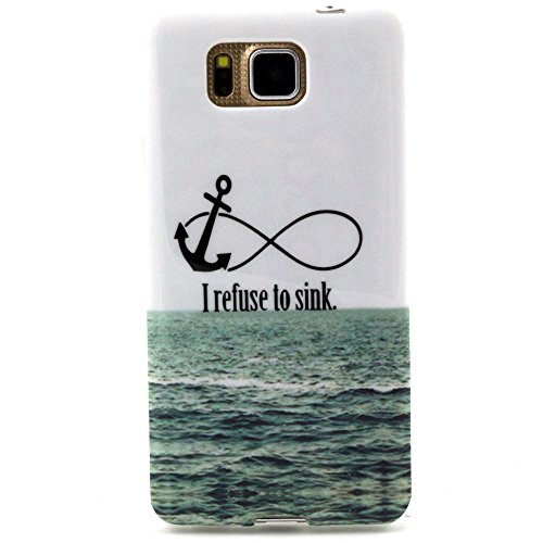 Uming® Pattern Print Colorful buntes Muster drucken Weiche TPU Hülle für ALCATEL POP C7 Shell Schutz mobile Etui Case Cover Handy Fall Abdeckung - 8 characters sea anchor