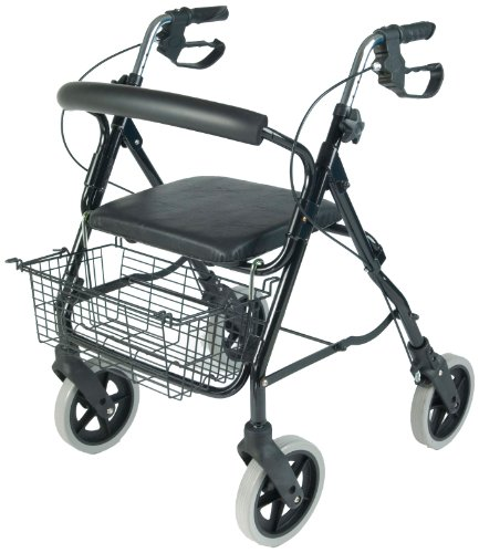 NRS Aluminium Four Wheeled Rollator Walking Aid With Seat  &  Shopping Basket