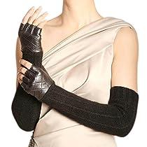 WARMEN Women Opera Long Leather&Wool Winter Warm Half Finger Fingerless Driving Gloves (L, Black)