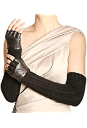 WARMEN Women Opera Long Leather Wool & Cashmere Winter Warm Half Finger Fingerless Driving Gloves