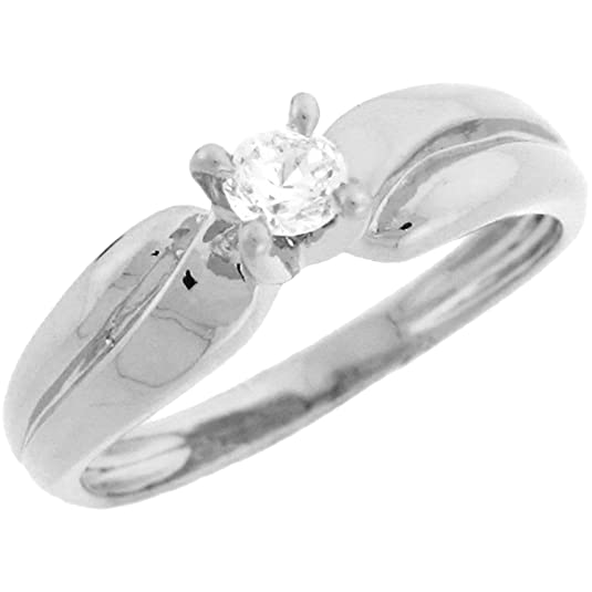 9ct White Gold Round CZ Solitaire Beautiful Engagement Ring