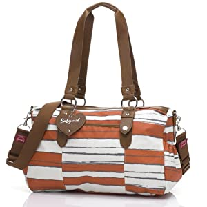 Babymel Diaper Bag, Ella Stripe Sunset Orange by Babymel
