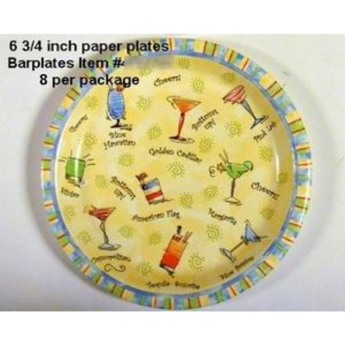 """""""Patio Bbq"""" Paper Dessert Plates - 8 Pack [72 Pieces] *** Product Description: These """"Patio Bbq"""" Drinks Themed Paper Plates Measure 6.75"""" In Diameter And Are Great For Serving Snacks, Cake And Much More. Each Pack Includes 8 Plates And Are Great ***"""
