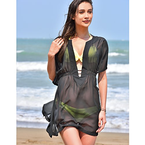 22cbb89dd MG Collection® Fashion Sheer Chiffon V-Neck Swimsuit Cover Up / Beachwear  Dress - Black