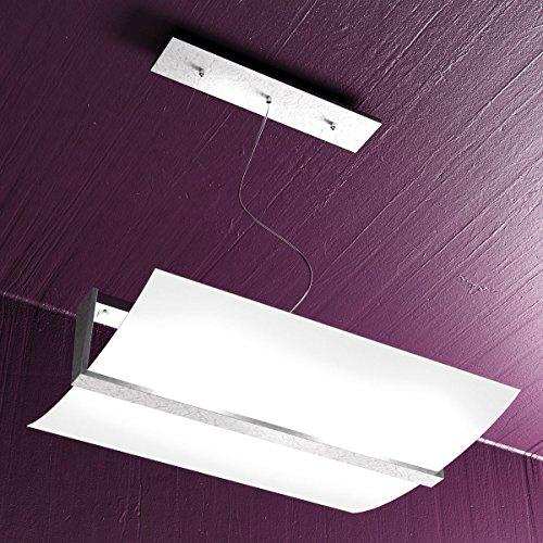 Lampadario a Sospensione VIRKE 50x40 cm Lampada 2 Luci Design Moderno Vetro Curvo Satinato Bianco e Legno Foglia Argento