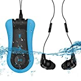 8GB Waterproof MP3 Player with Clip, Comes Waterproof Headphone & Extension Cord for Swimming, Running Sports, AGPTEK S12, Blue (Color: S12E 8GB Waterproof with Clip)