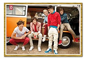 Iposters One Direction In Camper Van Poster Oak Framed - 96.5 X 66 Cms (approx 38 X 26 Inches) from iPosters