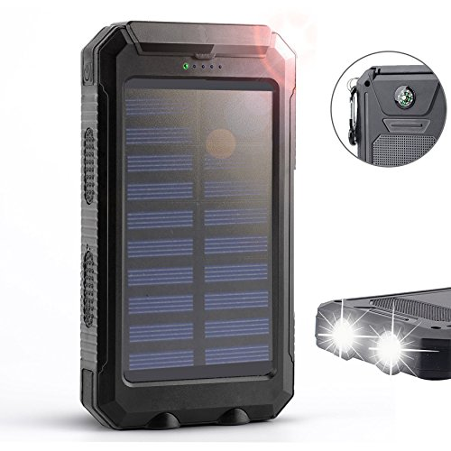 Solar Charger,Solar External Battery Pack,Portable 8000mAh Dual USB Solar Battery Charger Power Bank Phone Charger with LED Portable Solar Phone Charger for Phones (Black) (8000 Mah Battery Pack Charger compare prices)