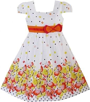 Sunny Fashion Robe Fille Court Manche Papillon Point École Uniforme 2-3 ans