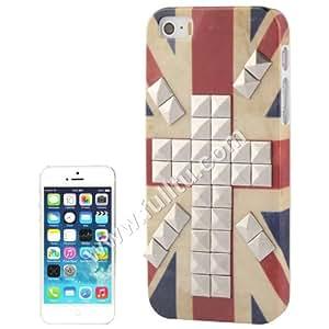 Retro UK Flag Ptrn Silver Rivet Plastic Case Cover for iPhone 5 & 5S