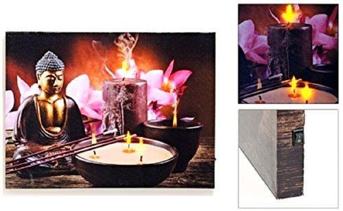 wandbild feng shui beleuchtet 3 led buddha motiv leinwand bild. Black Bedroom Furniture Sets. Home Design Ideas
