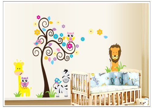 Apexshell (Tm) Owl Theme Cartoon Style Colorful Lovely Owl Standing On Colorful Trees With Animals Under It Removable High Quality Diy Decorate Wall Decal Sticker Decor For Kids, Home, Nursery Room, For Children'S Bedroom front-492494