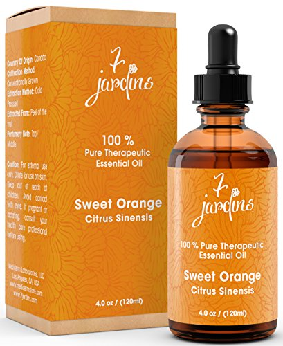 Premium Sweet Orange 100% Pure & Natural Therapeutic Grade Essential Oil. 120 ml - Anti Depressant, Anti Bacterial, Anti-Inflammatory - Boosts Immunity, Enhances Skin and Beauty- By 7 Jardins (Aromas De Medina compare prices)