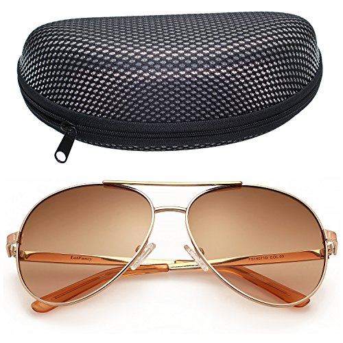LotFancy Women's Aviator 61mm Sunglasses With Zipper Case,100% UV