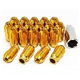ホイールナット 20個セット P1.5 M12 アルミ製 ロング 貫通 ゴールド 金