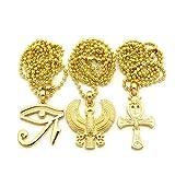 Egyptian-Eye-of-Horus-Horus-Bird-Ankh-Pendant-24-Ball-Chain-3-Necklace-Set-in-Gold-Tone