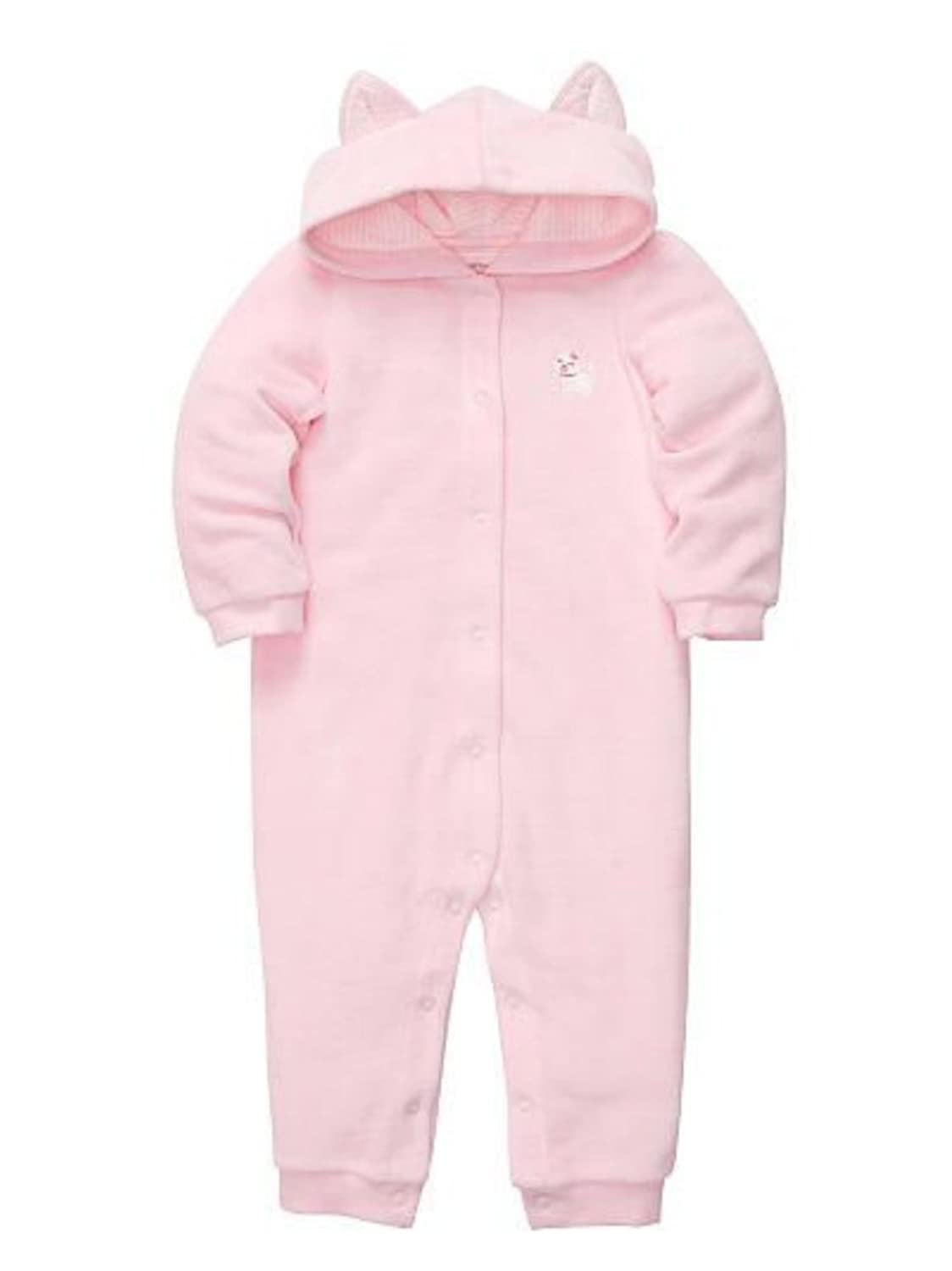 Carters Infant Girls Pink Cat Hooded Sleeper Sleep & Play Pajamas