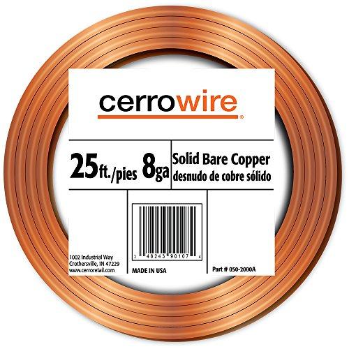 cerrowire-050-2000a-25-feet-8-gauge-bare-solid-copper-wire
