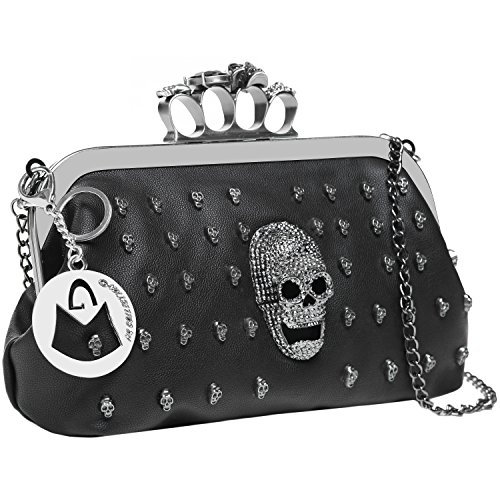 MG Collection ASURA Gunmetal Gothic Skull Knuckle Duster Clutch / Evening Purse