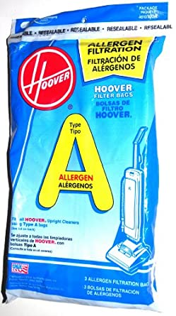 Hoover Commercial Portapower Lightweight Micro-Filtration A Allergen Bags Fit for Hoover Vacuum 1403, 1413, 7069 -- 3 bags per case.