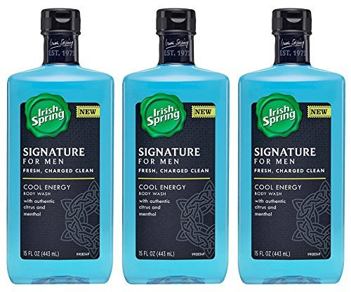 Irish Spring Signature For Men Body Wash - Cool Energy - With Authentic Citrus & Menthol - Net Wt. 15 FL OZ (443 mL) Per Bottle - Pack of 3 (Shower Menthol compare prices)