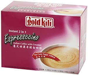 Gold Kili Instant 2 in 1 Espressccino Italian Coffee with Creamer (No Cane Sugar Added), 6.3 oz. (180g), 10 Sachets, 1 Box